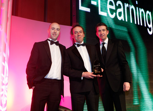 KITE Project Co-ordinator Stephen Reid and Technician Ross McMorrow receive the award for Best in eLearning on behalf of the KITE Project team from Mark little at the 2011 Satellite Digital Media Awards in The National Convention Centre in February.