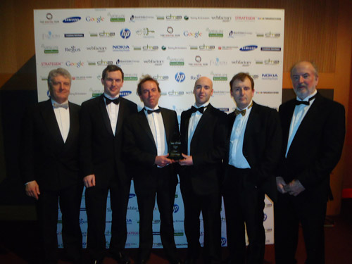 Pictured at the Digital Media Awards are (from left to right), John McGowan, IT Sligo Governing Body and Engineers Ireland member; KITE Project  Technician Noel Walsh,  KITE Project Co-ordinator Stephen Reid, KITE Project Technician Ross McMorrow, Open Learning Co-ordinator Brian Mulligan, Acting Head of School of Engineering, Frank Carter.