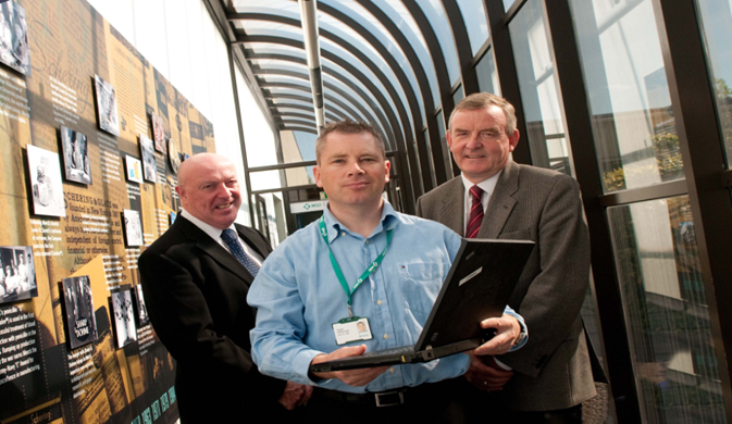 Fergal O' Donovan, Tech Ops Director at MSD Brinny with Ian Nelligan, Training Director, NIBRT and Kieran Tobin, Online Programme Manager, IT Sligo.