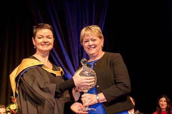 IT Sligo receives her Corn Sean McManus award from Beatrice Flavin during last Friday's Conferring ceremonies at IT Sligo.