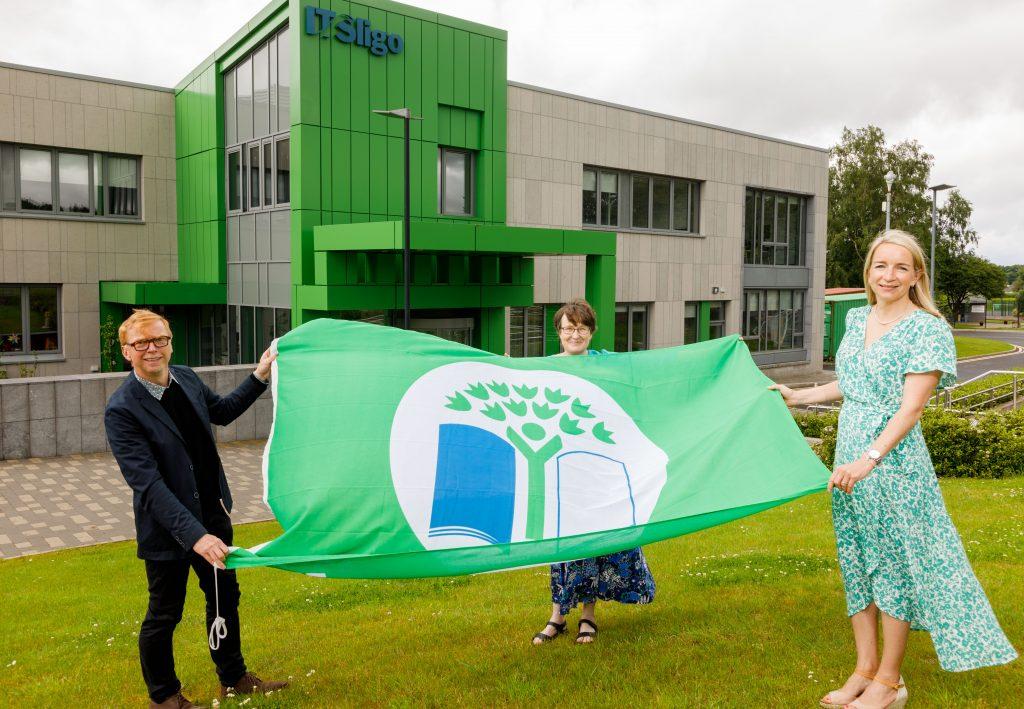 IT Sligo Green Campus Team holding the Green Flag