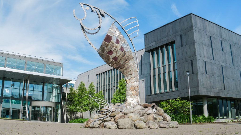 Campus building with Salmon of Knowledge