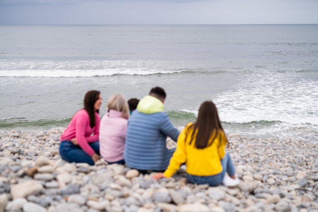 Students by the sea in Strandhill, Sligo