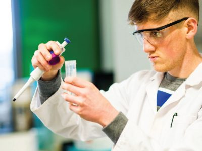 Science student in a lab